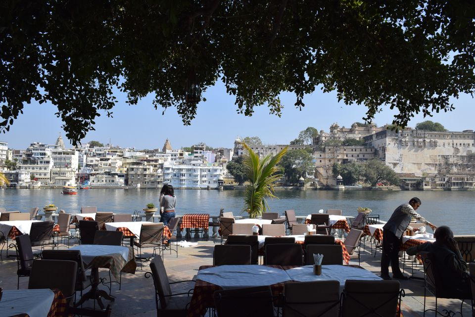 Amazing view of Udaipur and lake Pichola from a terrace of a restaurant