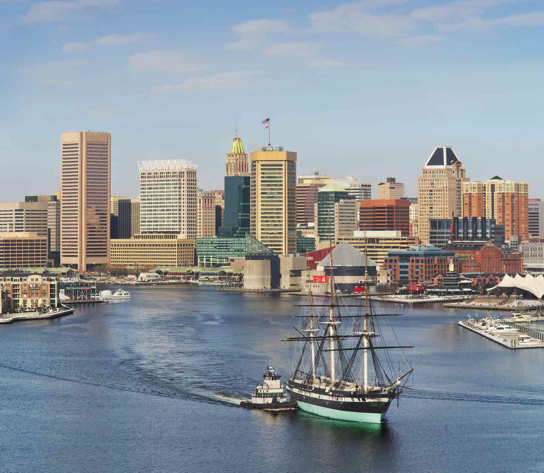 Baltimore Skyline with USS Constellation