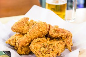 Fried Chicken and Beer. A popular snack in Korea in winter.