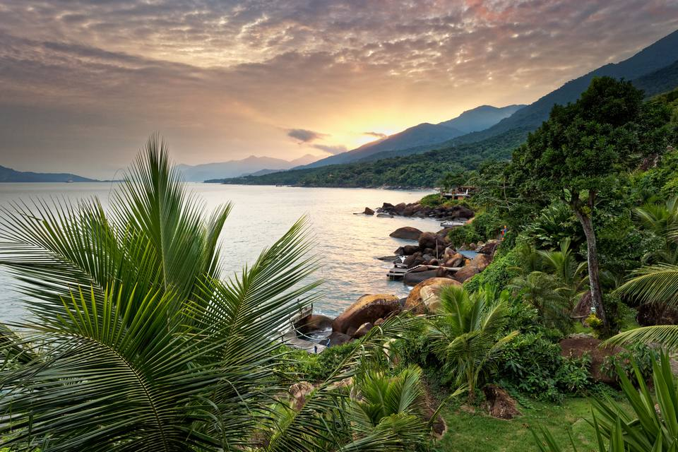 Ilhabela Island coastline at sunset in Sao Paolo state, Brazil