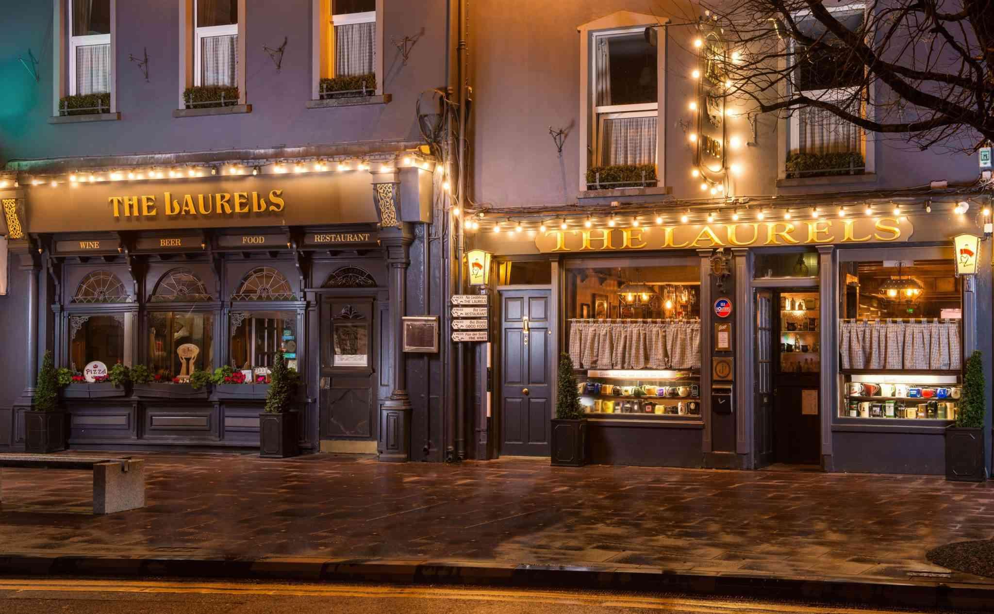 exterior of irish pub with lights