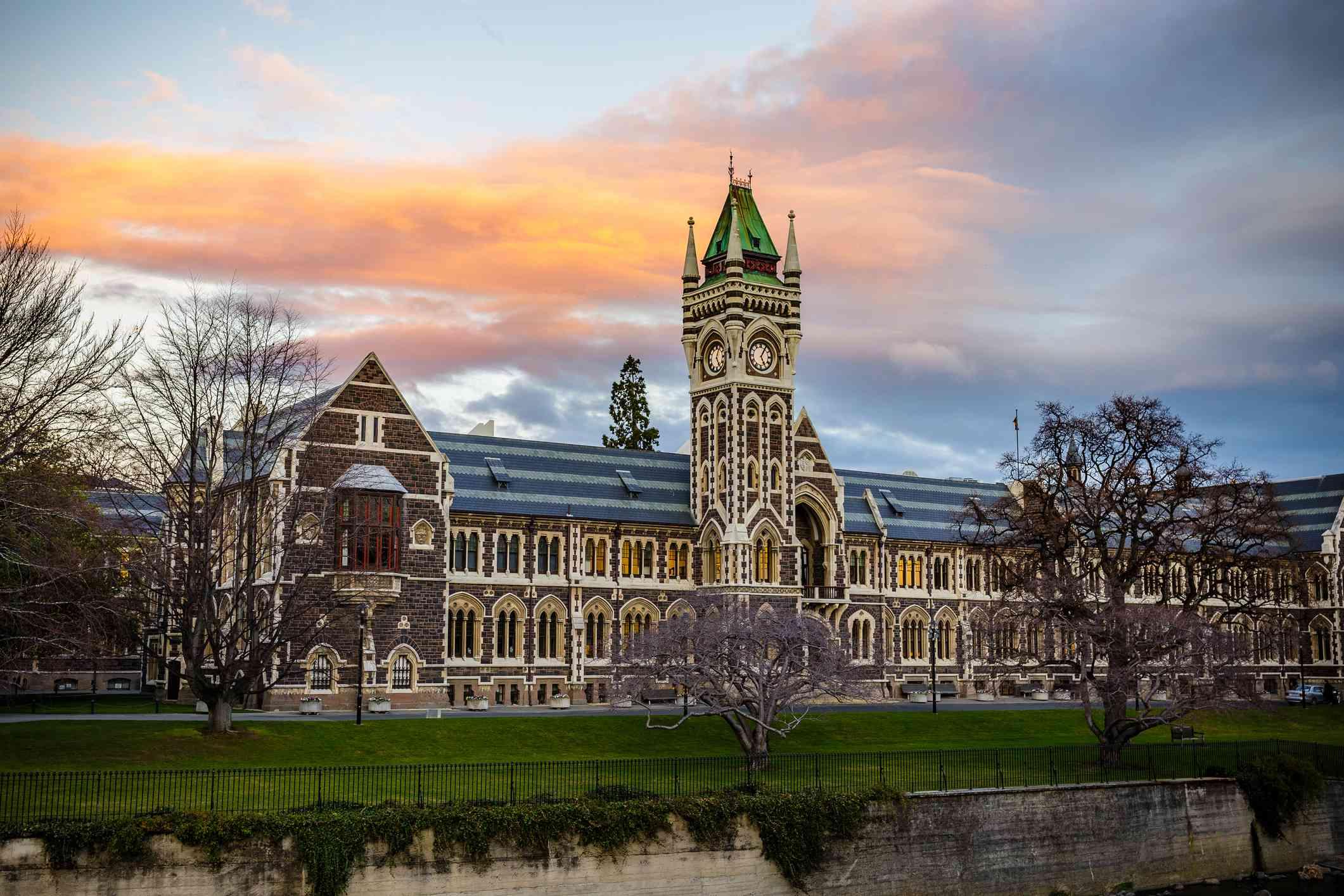 Neo-gothic stone clocktower at the University of Otago