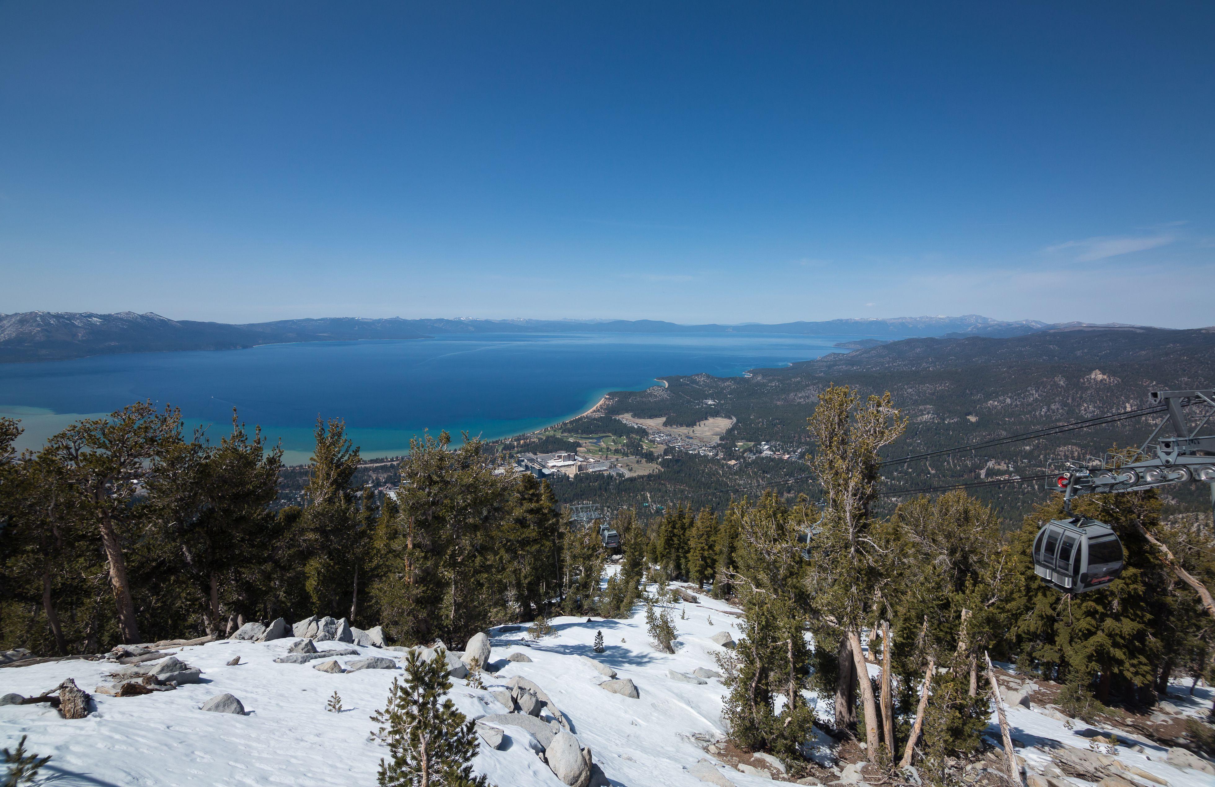 Gondola and view of Lake Tahoe at Heavenly Resort