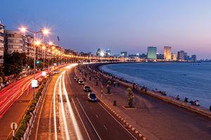 Save to Board Panoramic View of Marine Drive at dusk, Mumbai, India