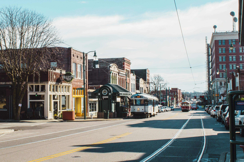 A downtown tram in Memphis