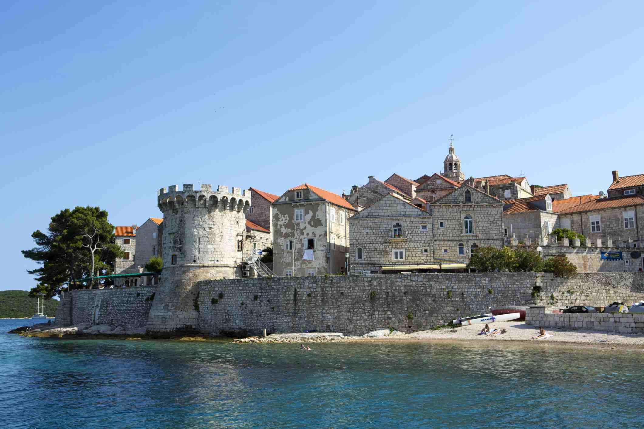 Europe, Croatia, Dalmatia, Korcula island, Korcula town, showing the fortified city walls