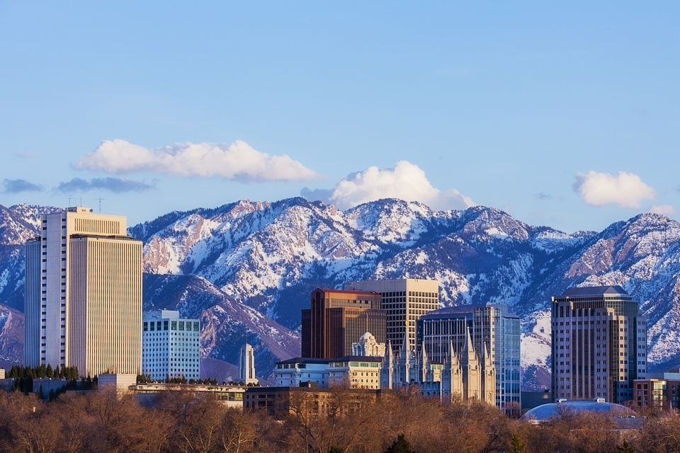 Salt Lake City Skyline in Early Spring with Copy Space