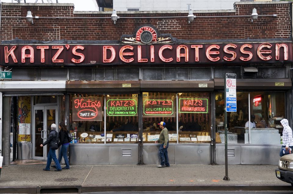 katz's deli from the outside on NYC's lower east side