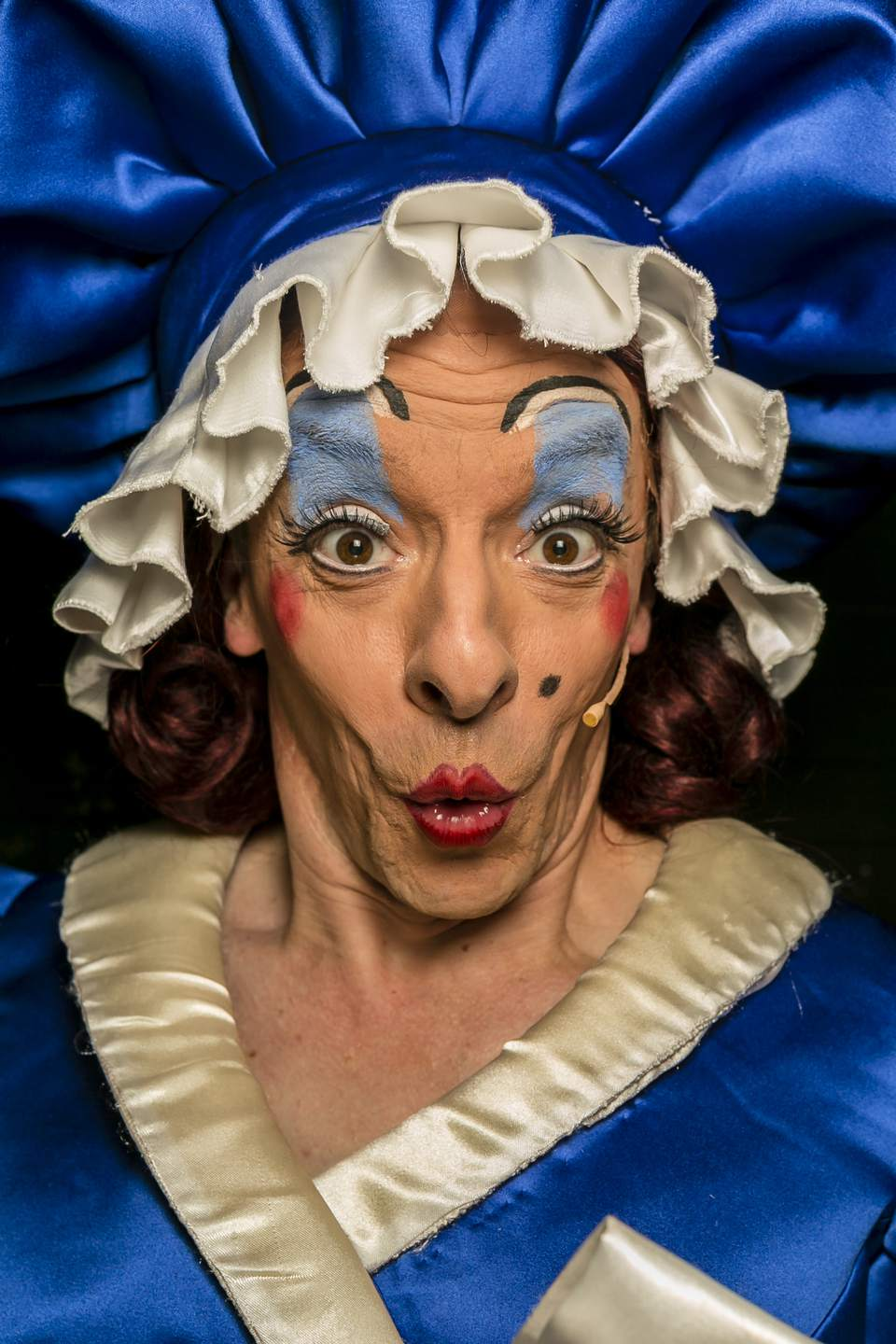Behind The Scenes At Hackney Empire: Stephen Matthews playing 'Dame' poses for a portrait during the Puss in Boots pantomime at the Hackney Empire.