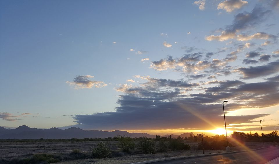 Undeveloped land in Arizona's Maricopa County at sunset