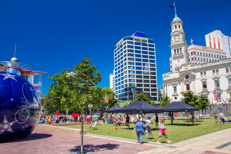 Aotea Square & Town Hall at Christmas