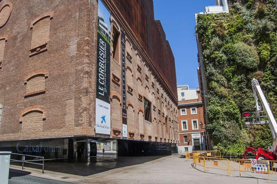 Exterior of the Caixaforum exhibition center in Madrid, Spain