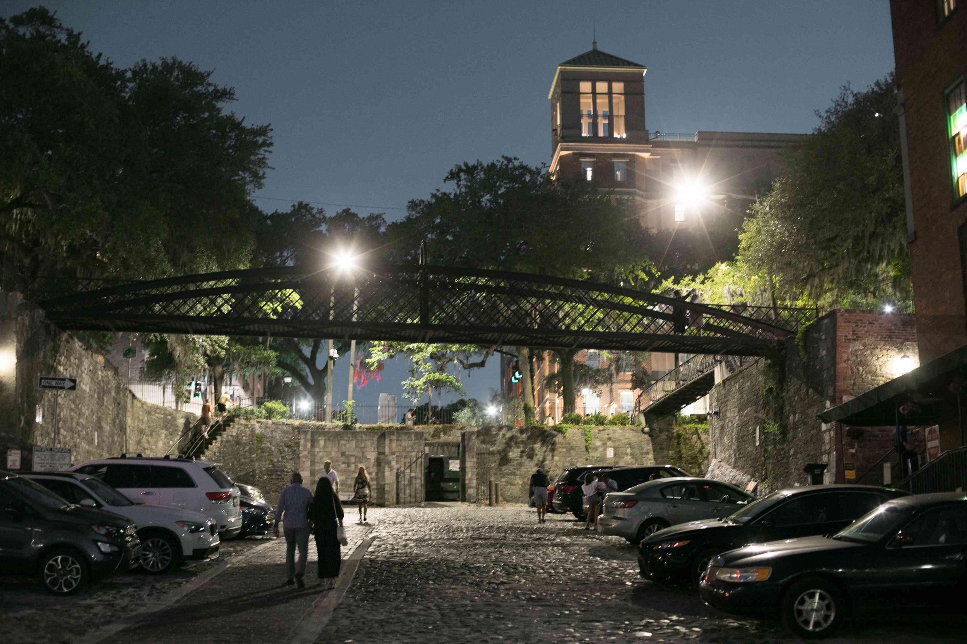 River Street at Night in Savannah, GA