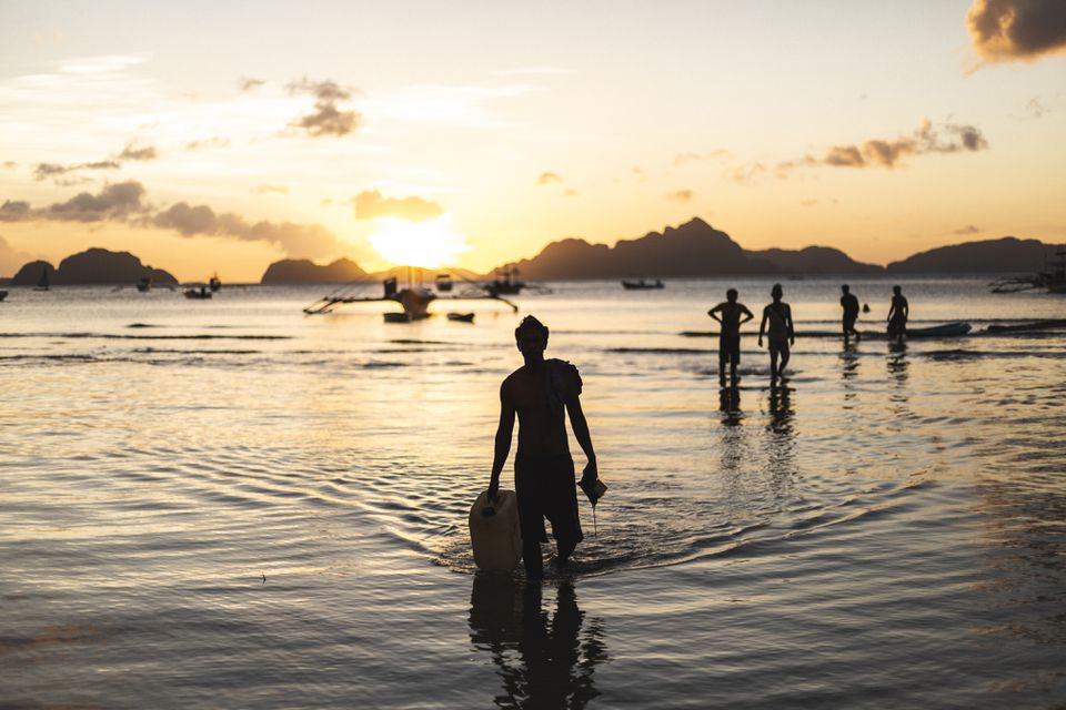 El Nido Beach at sunset