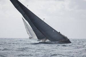 Rain and stormy weather during a sailing competition