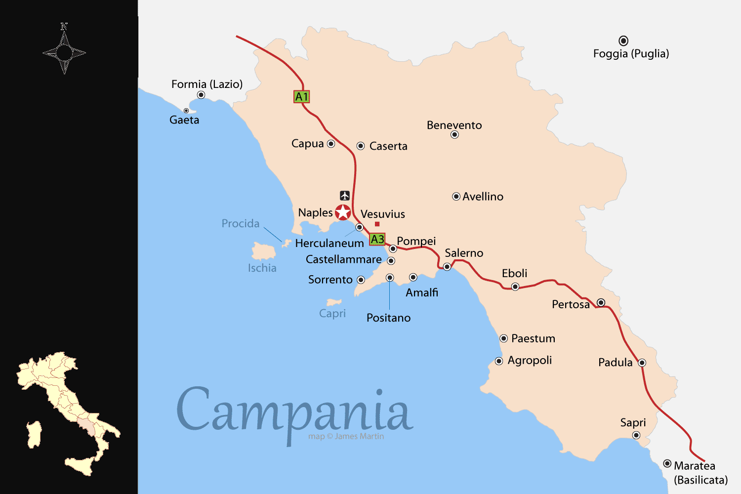 Campania Map and Travel Guide