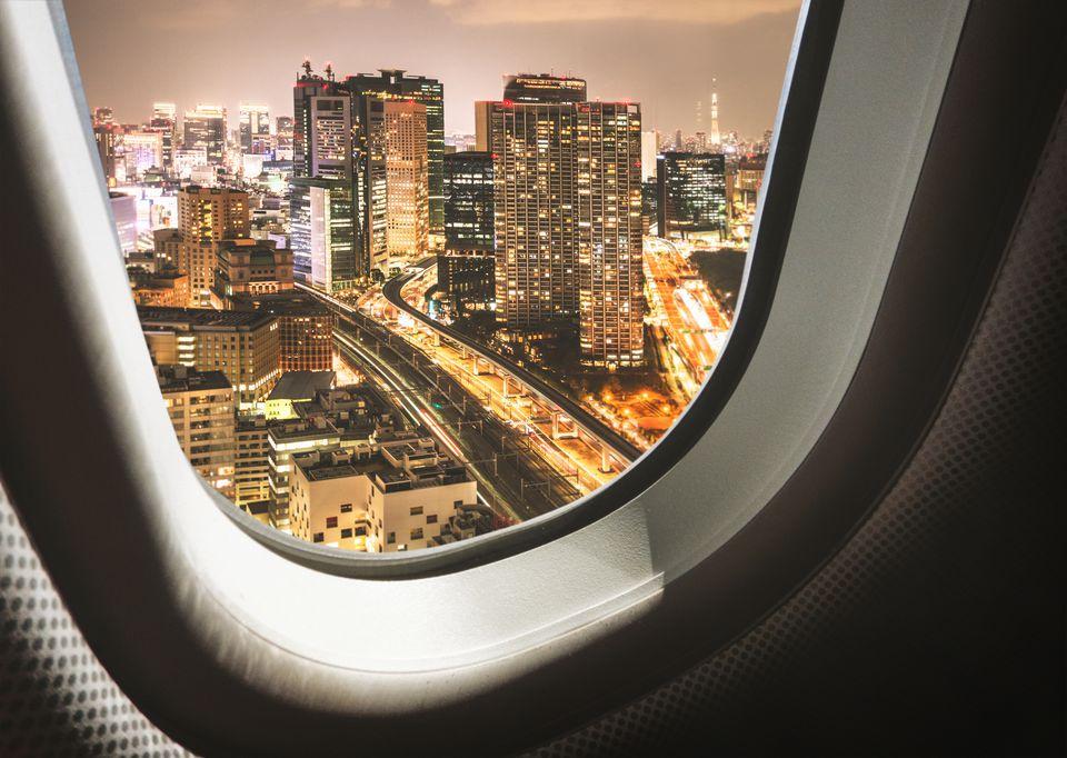 Horizonte de Tokio desde el avión