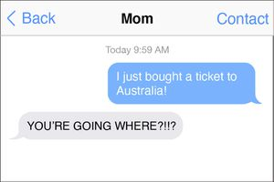 Illustration of text message between mom and child