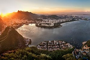 Sunset over cityscape with mountains, Rio de Janeiro, Brazil