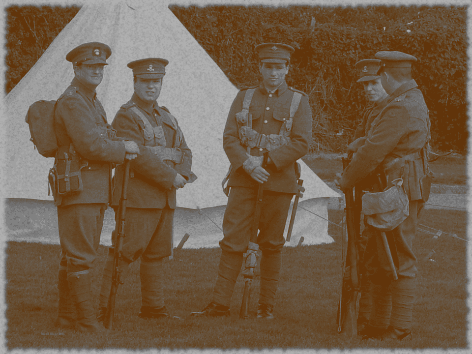 Off to Tipperary? Reenactors in Great War uniforms.