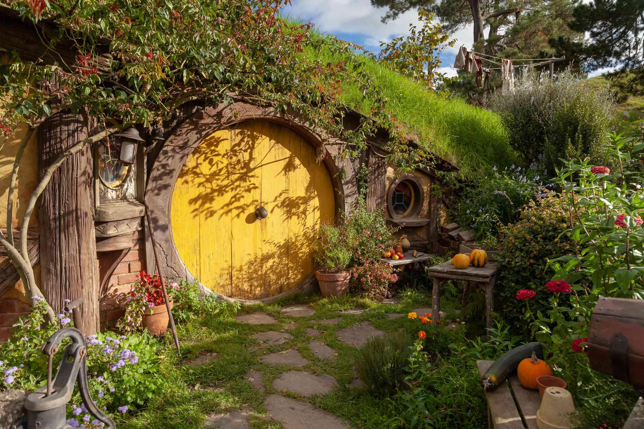 entrada a una casa Hobbit en Hobbiton