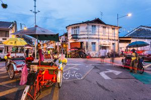 The streets of Georgetown in Penang at night, Malaysia