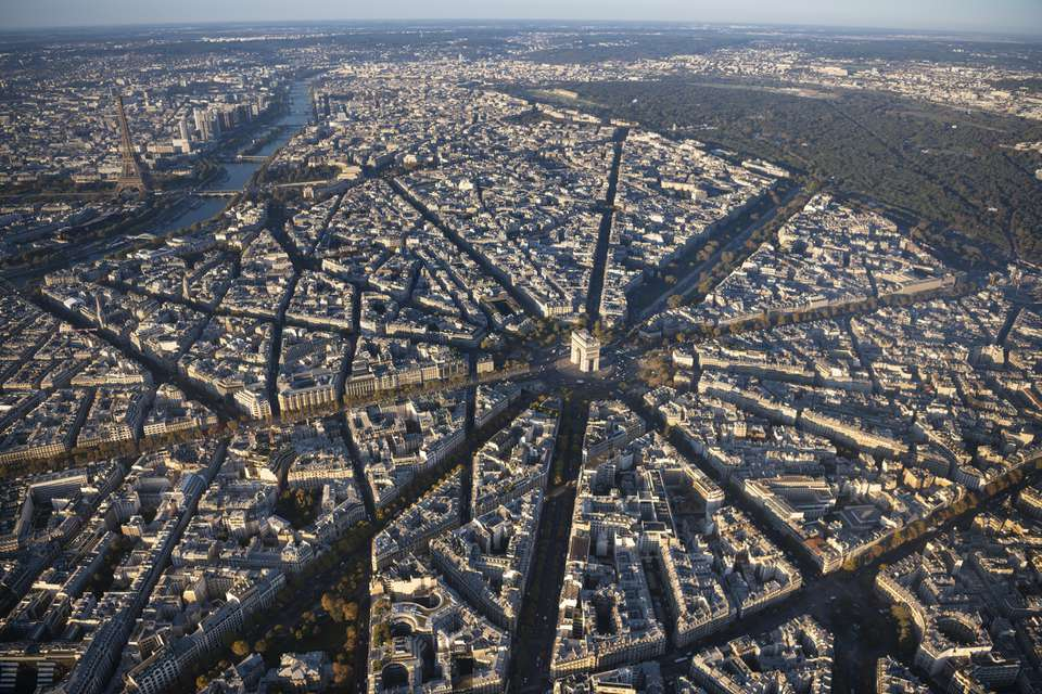 Aerial view of Arc de Triomphe in Paris France at sunrise