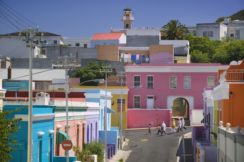 Colorful Houses on Street in Bo Kaap