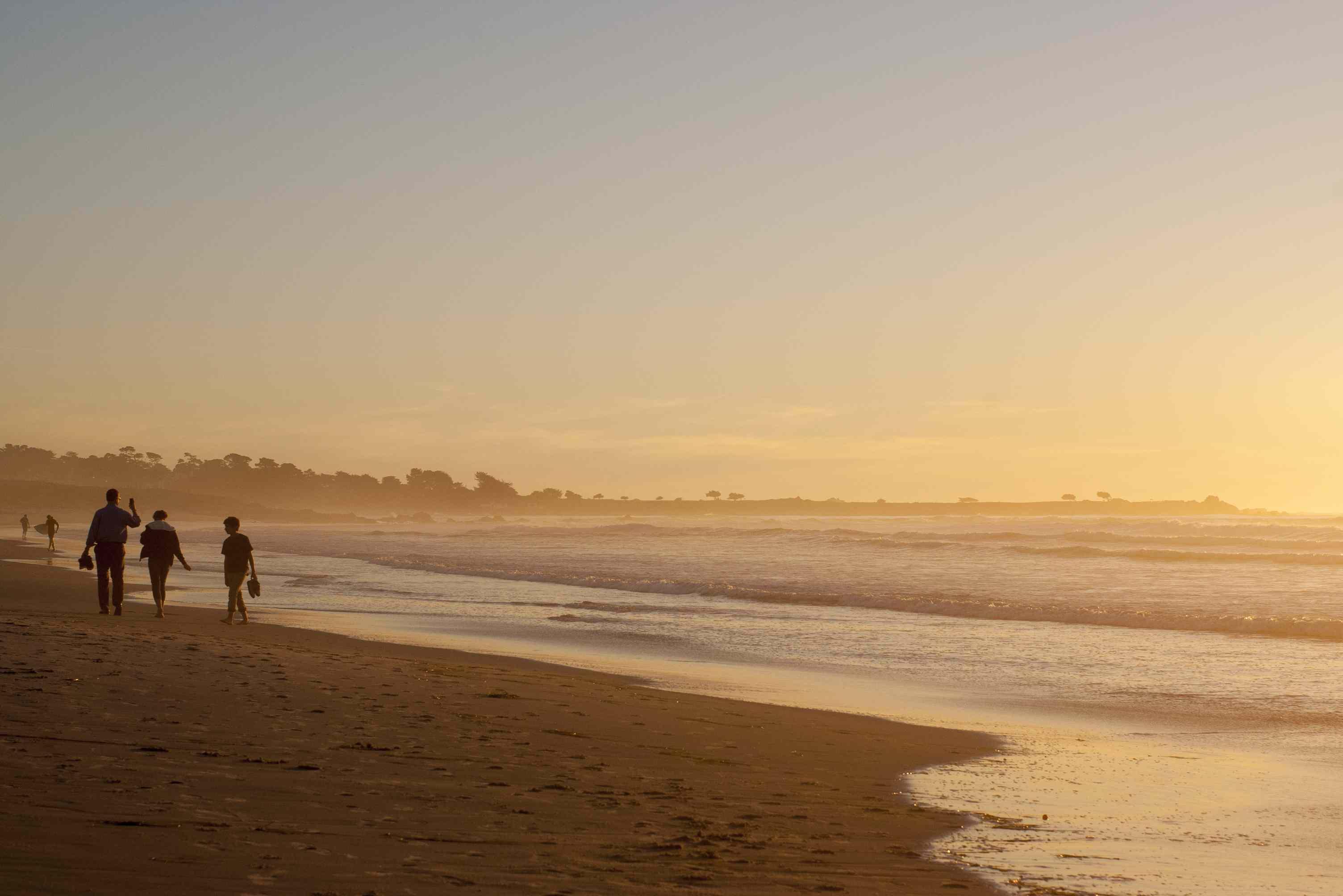 Walking on Asilomar Beach at Sunset