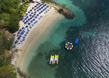 Aerial view of people enjoying the beach in St. Lucia