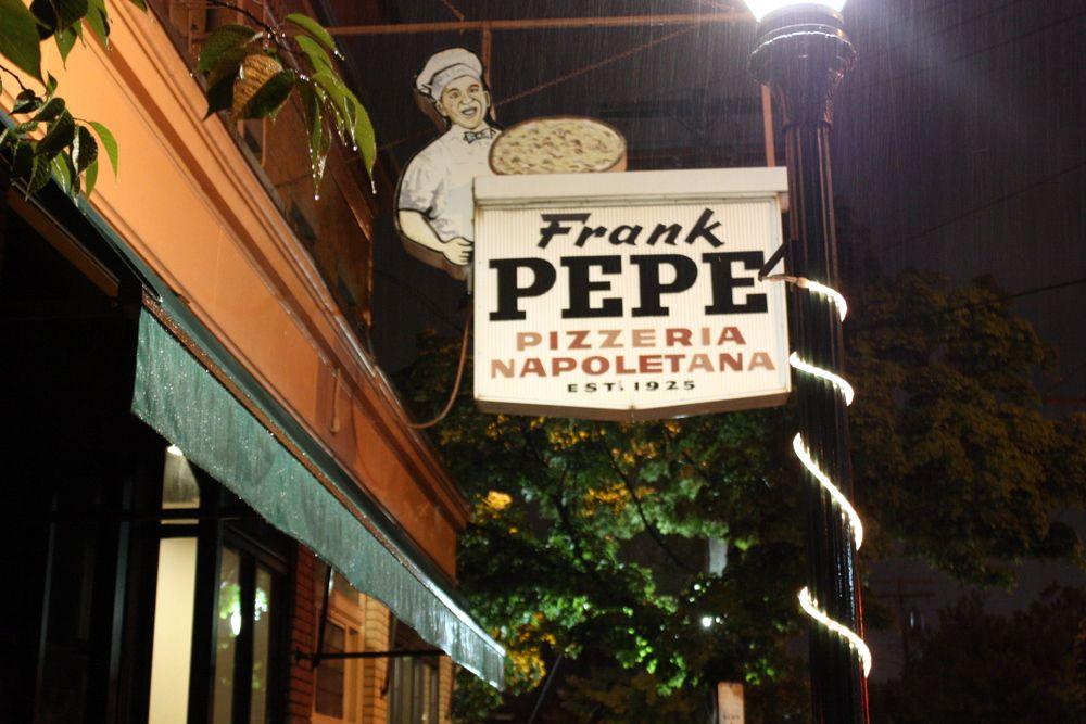 Exterior awning and sign of Frank Pepe Pizzeria Napoletana
