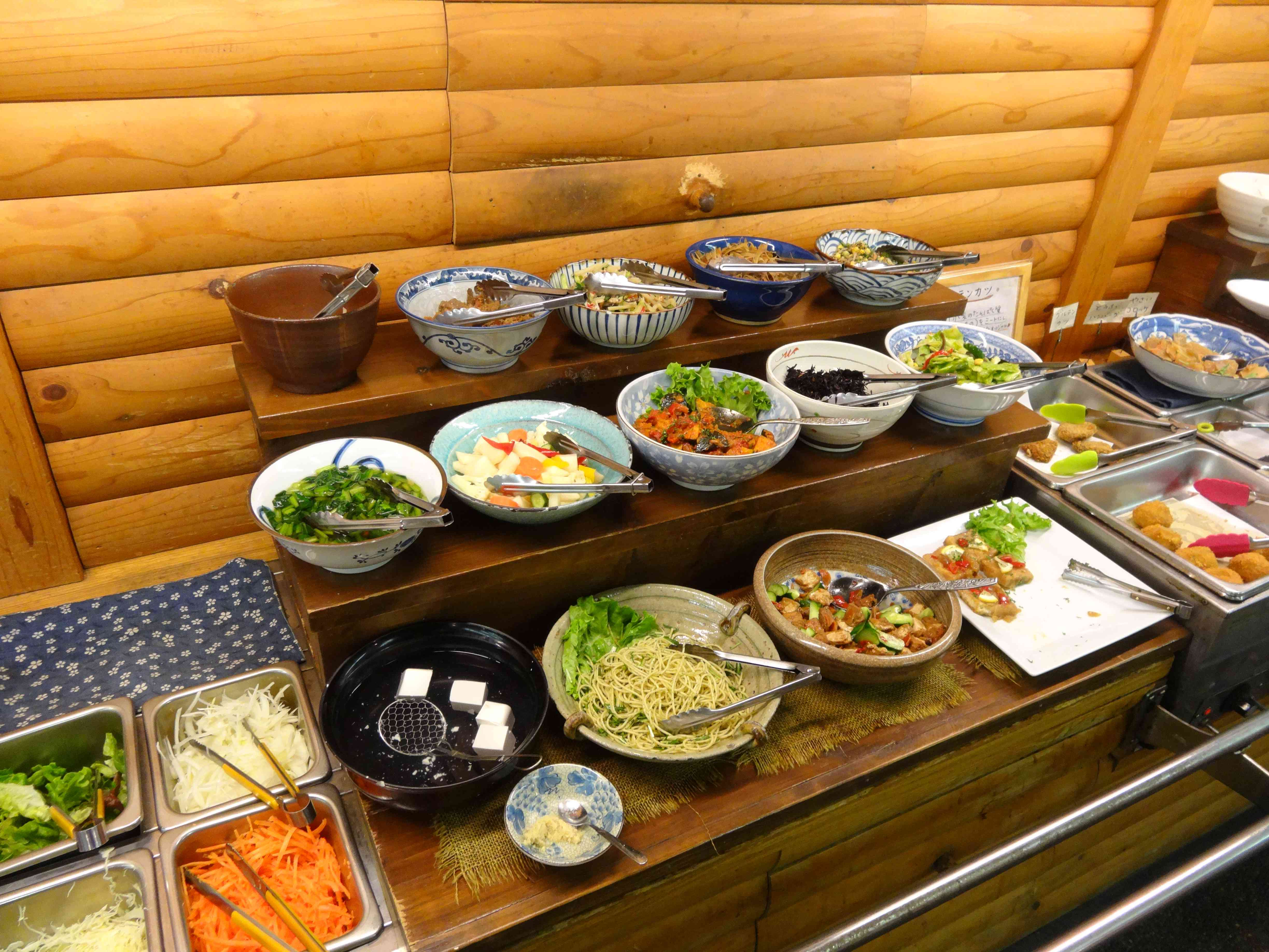 buffet of dishes at an obanzai restaurant in kyoto