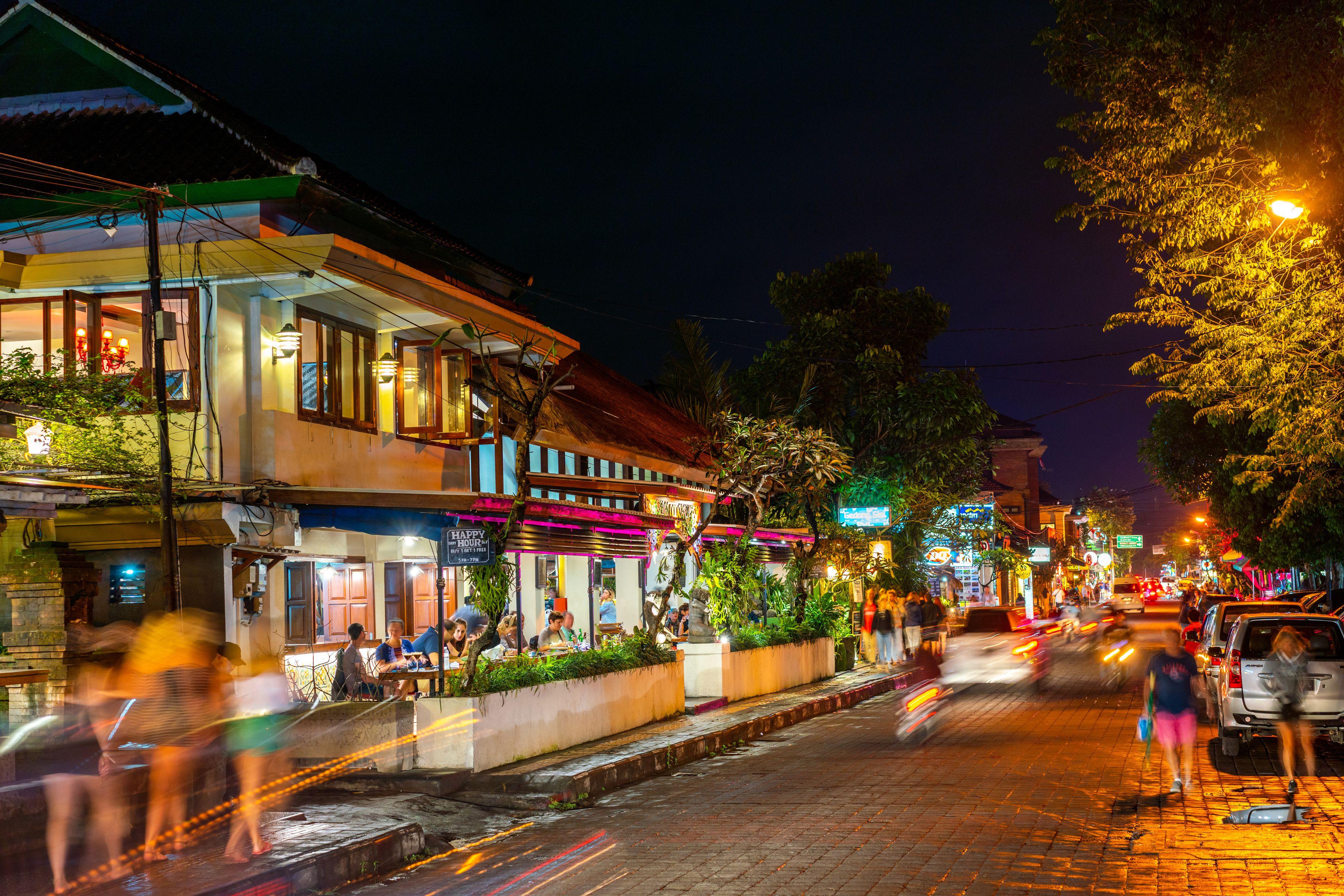 Ubud Royal Palace Street at Night, Bali, Indonesia
