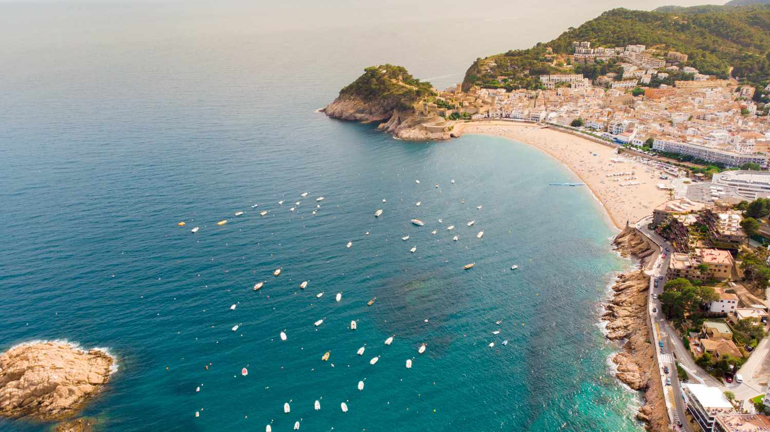 Aerial view of the seaside town of Tossa de Mar, Spain