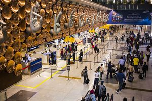 Immigration lines at Delhi airport in India