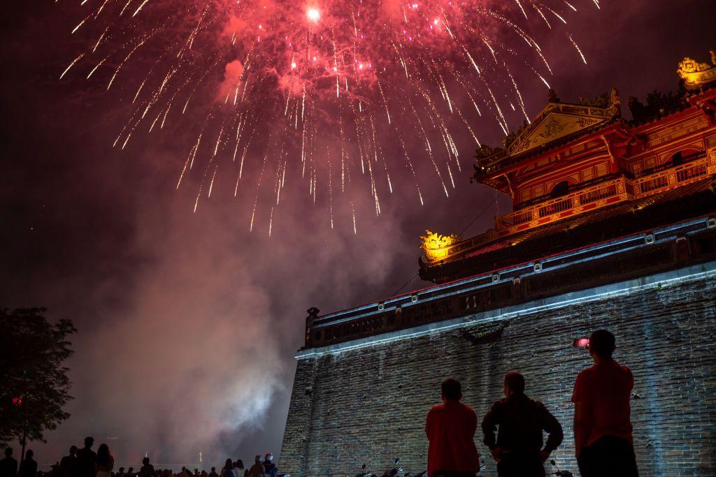 Tet fireworks over the Citadel in Hue, Vietnam