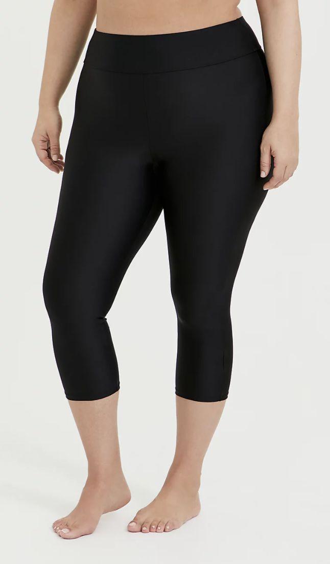 Black Crop Swim Leggings