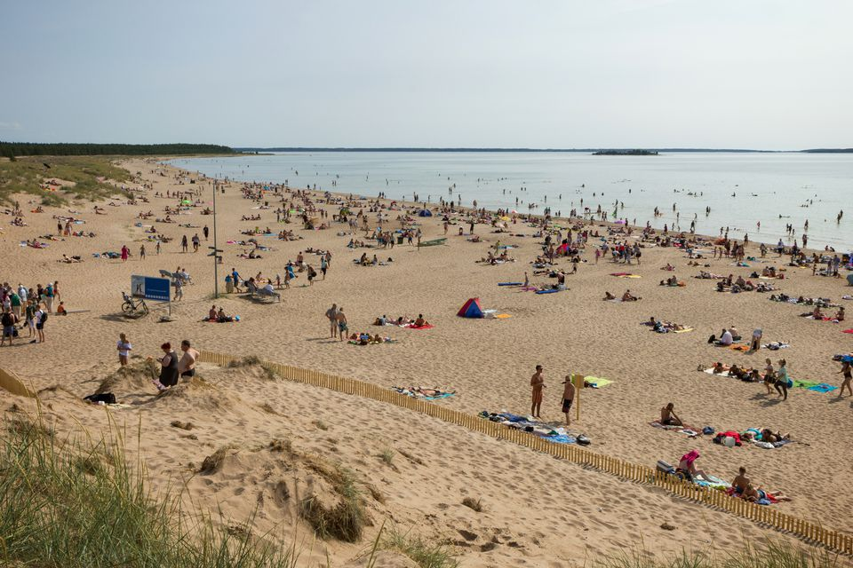 Crowded Yyteri Beach in Pori, Finland