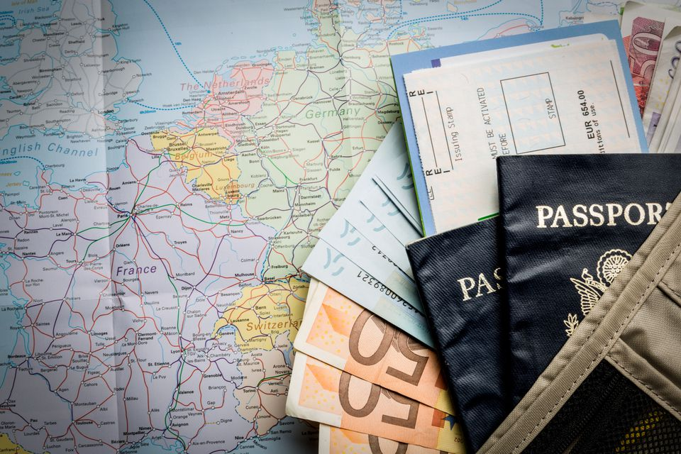 US Passport, money and map