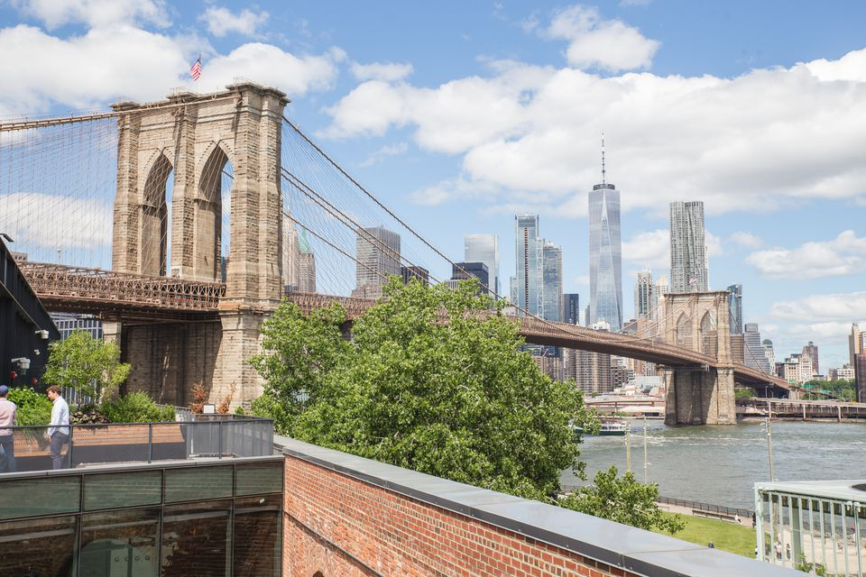 View of the Brooklyn bridge from a nearby rooftop