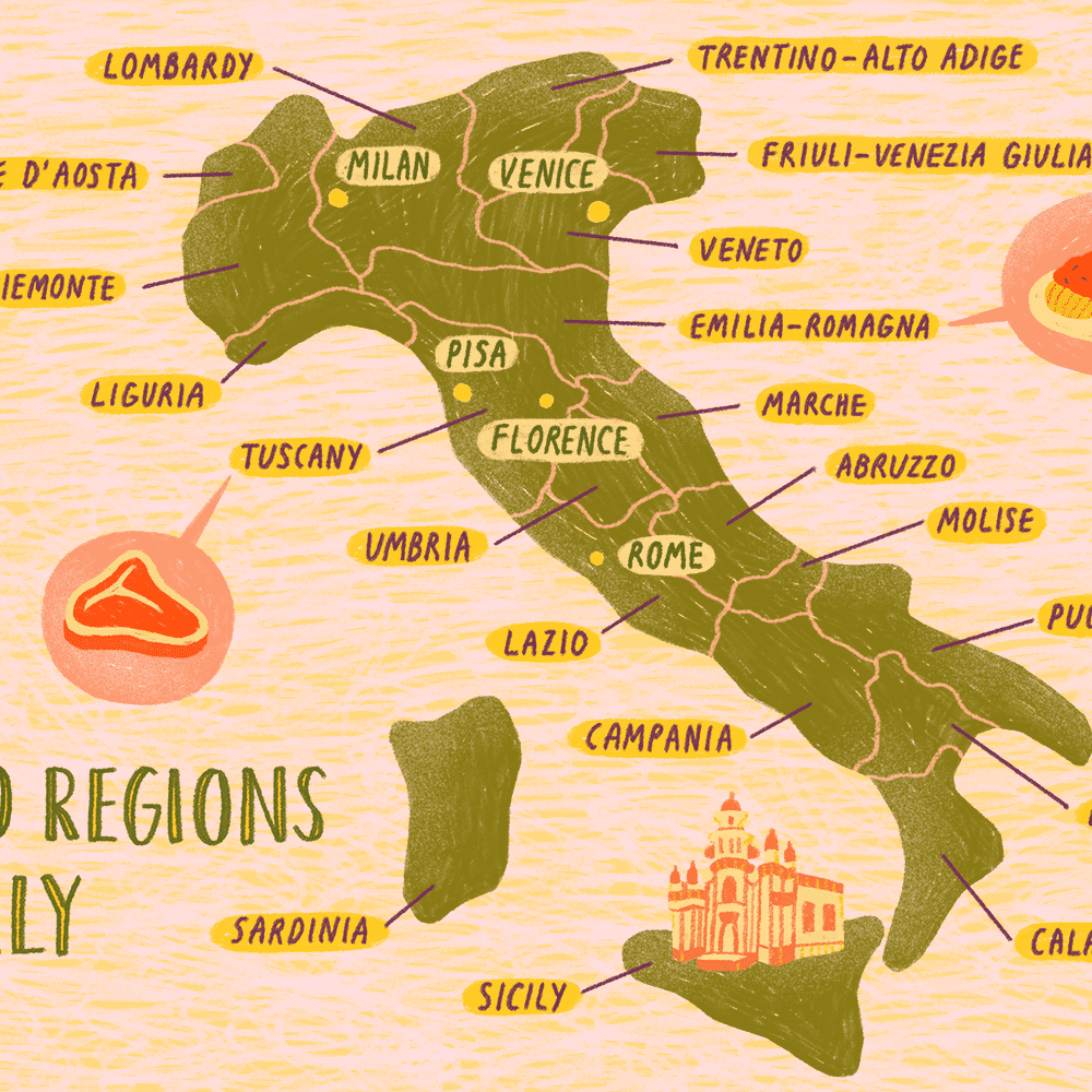 A Map Of Italy Map of the Italian Regions
