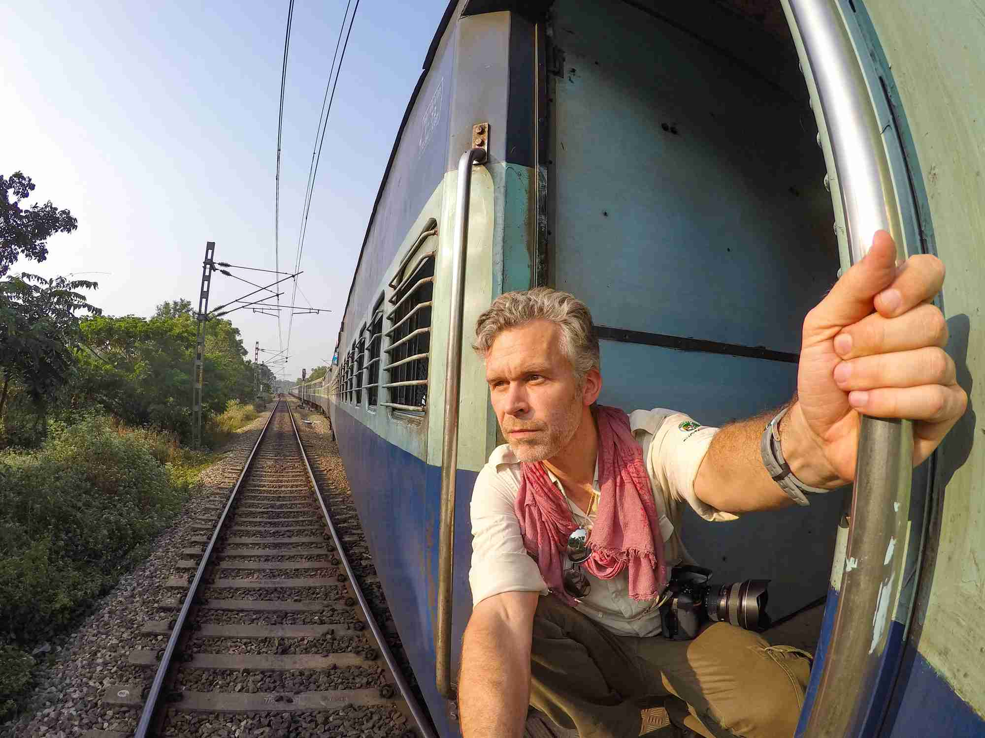 Man traveling on Indian train.