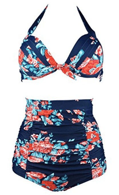 COCOSHIP Retro 50s High Waist Bikini Swimsuit
