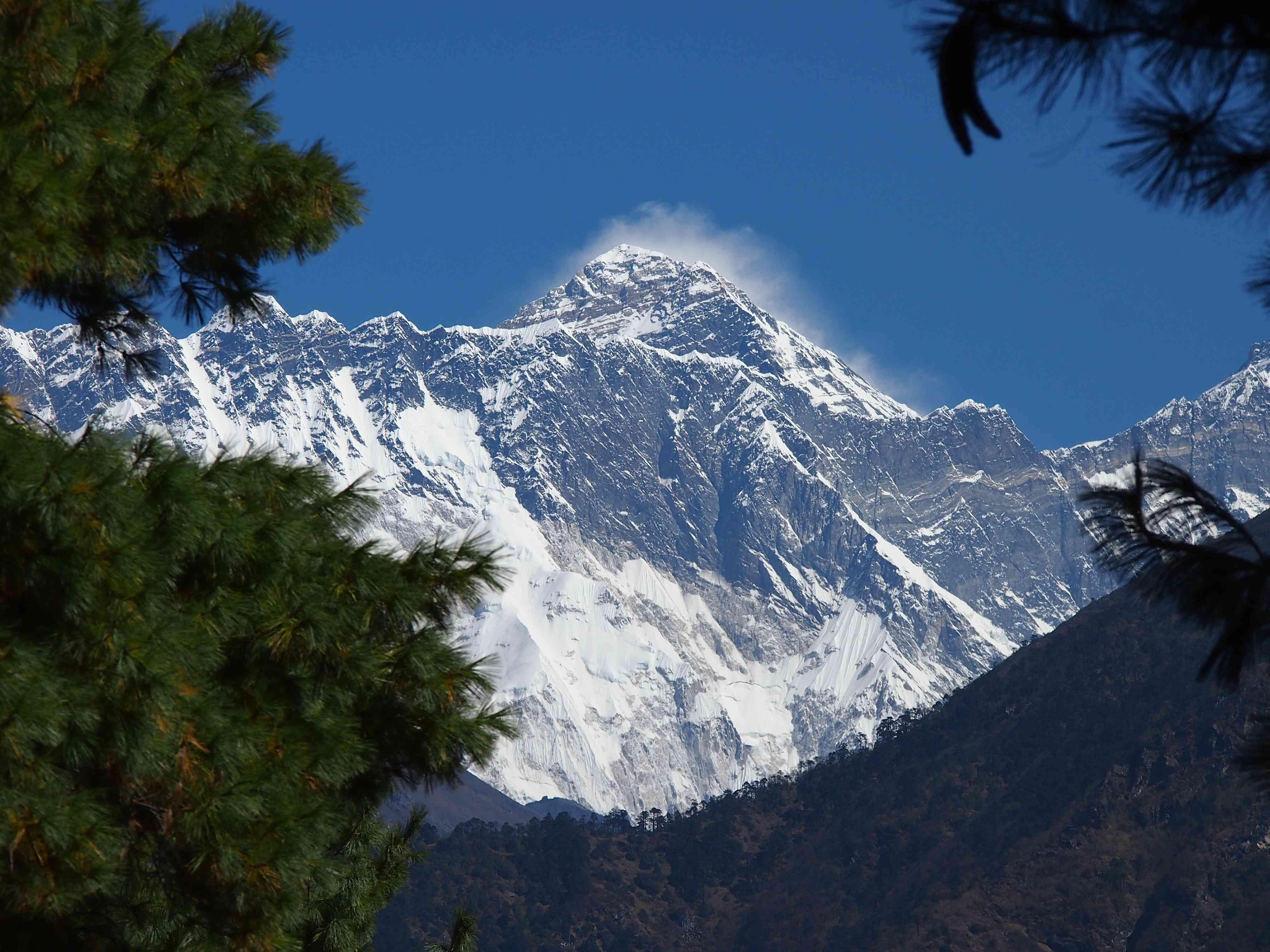 Monte Everest manchado de nieve y rodeado de árboles