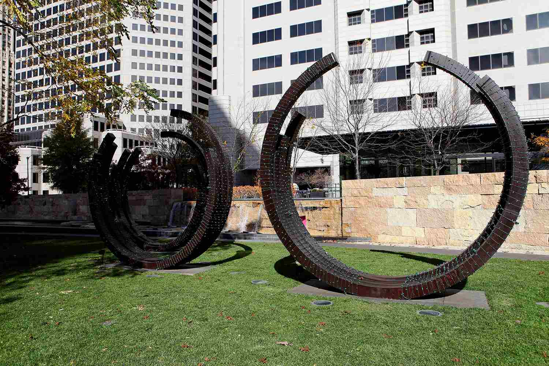 Bernar Venet's '2 Arcs x 4' sculpture sits inside Citygarden in St. Louis, Missouri on November 15, 2015.