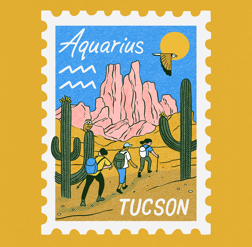 An illustration of a stamp with a scene of Tucson, AZ depicting a desert and 3 hikers walking past cacti. Aquarius is written on it.