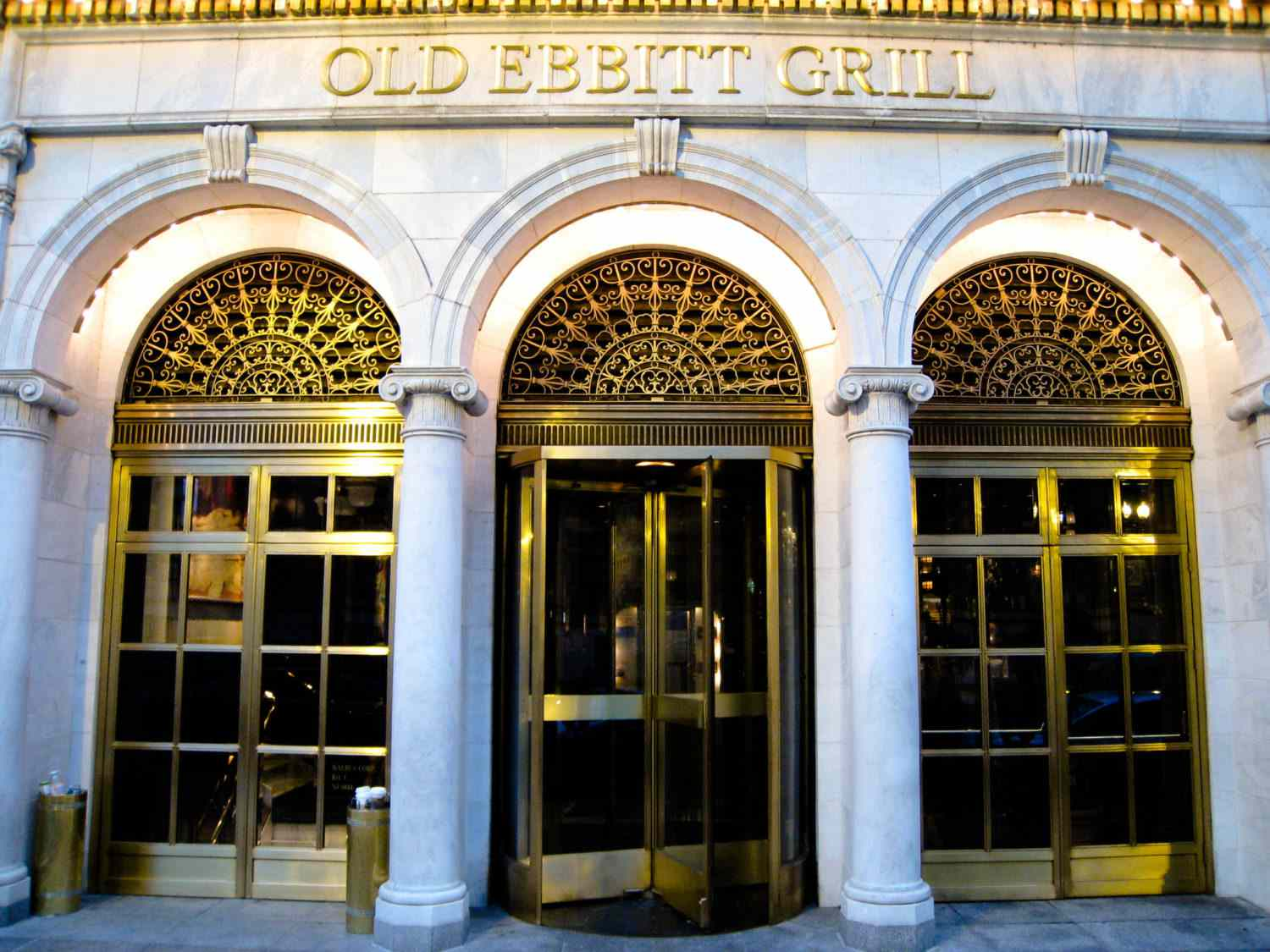 Marble arched entryway to Old Ebbitt Grill