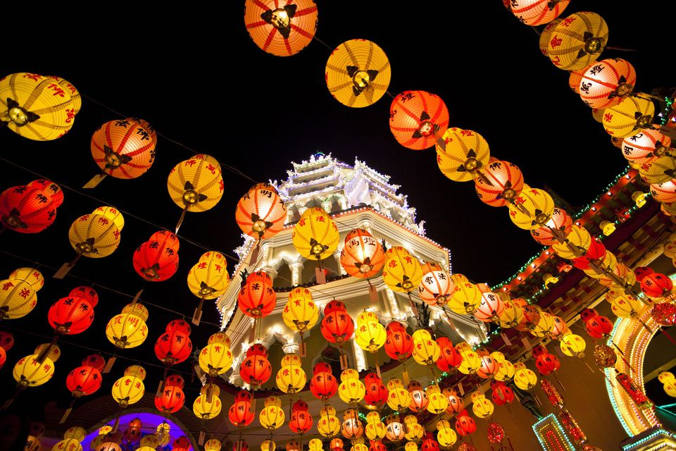 Chinese New Year Lights on Kek Lok Si Temple, Penang, Malaysia