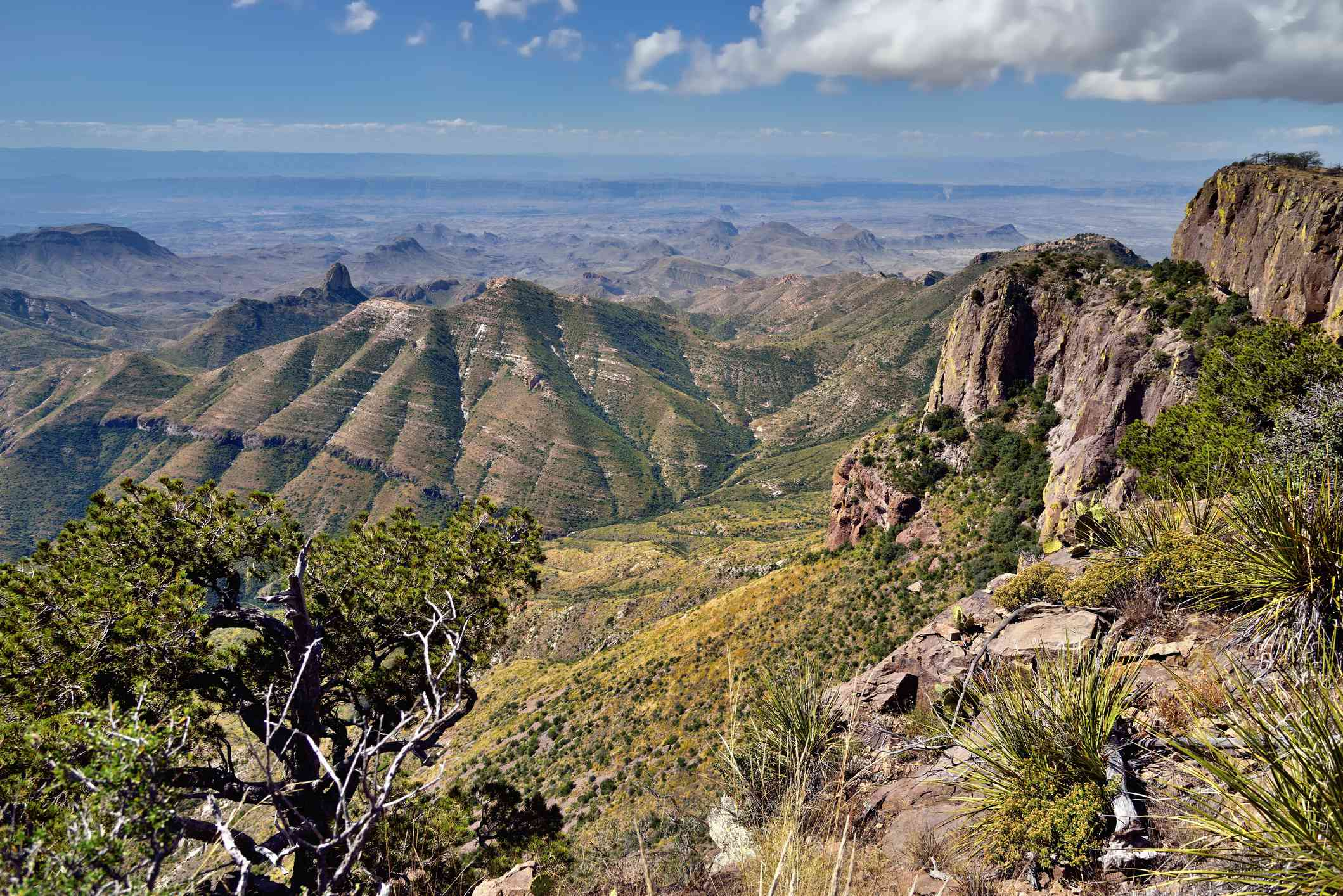 Blue Skies and Clouds Above the Peaks and Mountainsides of the Chisos Mountains