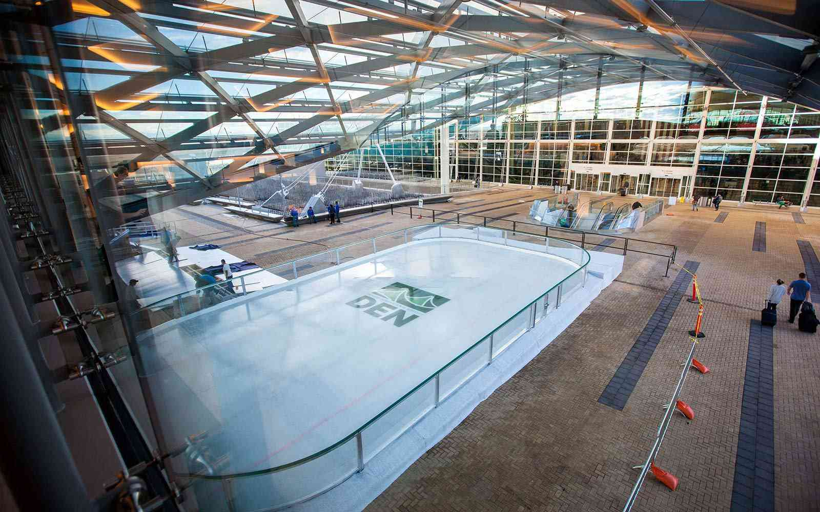 DIA's Ice Rink outside of the terminal